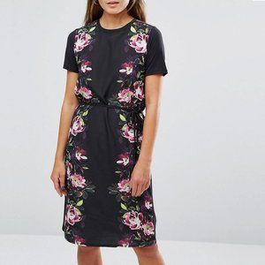 ASOS Oasis Floral Satin Front Tie Shift Dress